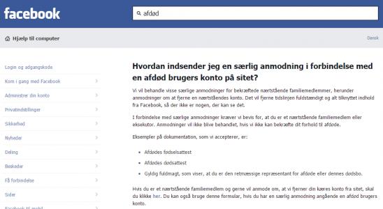 Afdødes profil på facebook